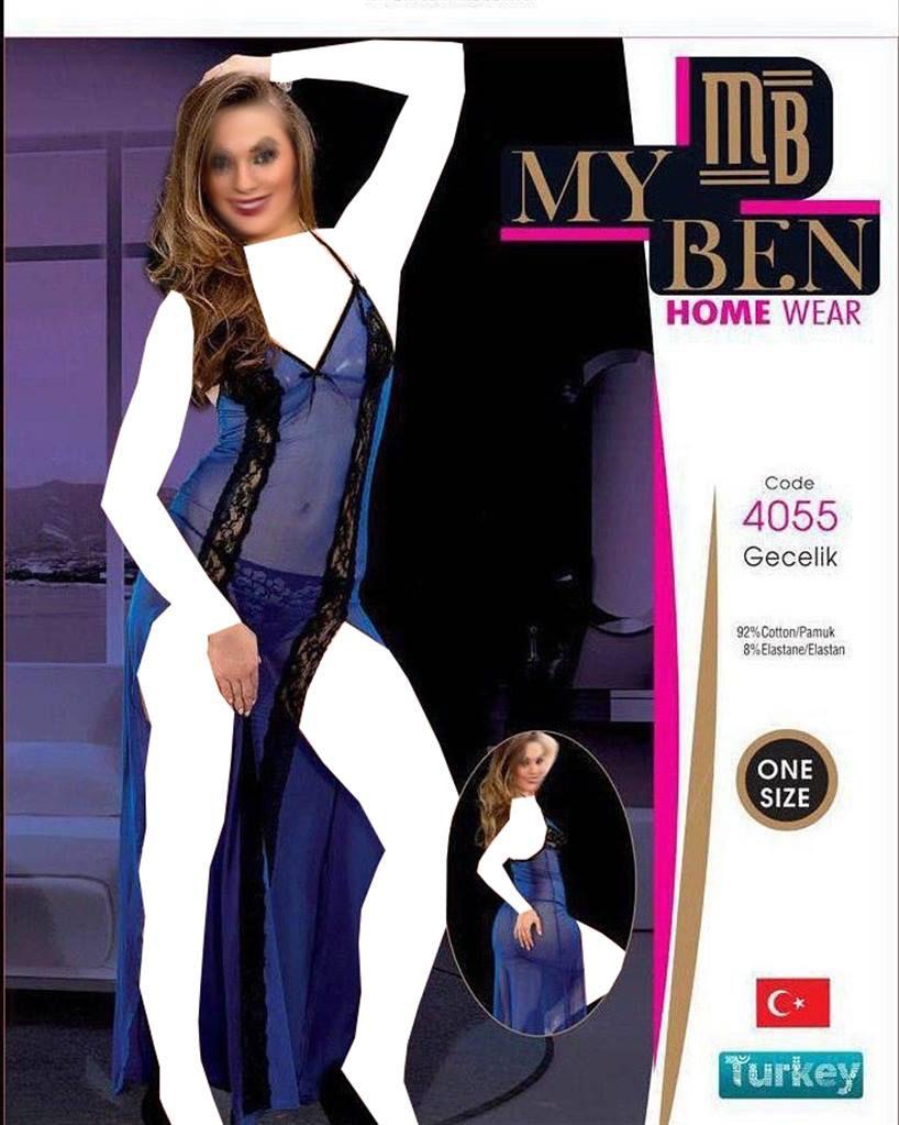 لباس خواب بلند زنانه ترک - 4055 My Ben |