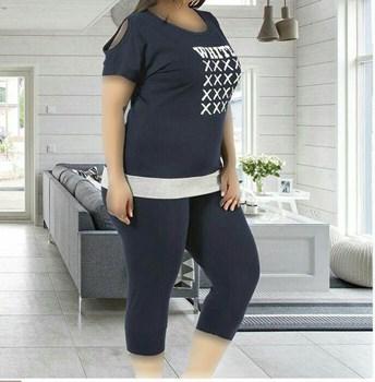 تصویر تی شرت شلوارک سایز بزرگ زنانه ترک - 7456 Miss Tiko